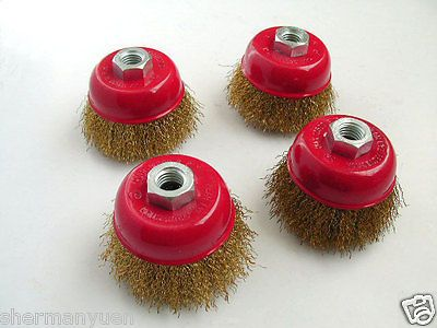 """4PCS CUP CUPPED WHEEL BRUSH CRIMPED WIRE 3"""" (75mm) ANGLE GRINDER"""