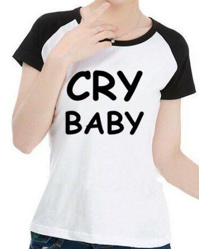 Letter cry baby baseball tee shirts color block raglan sleeve for teenage girls