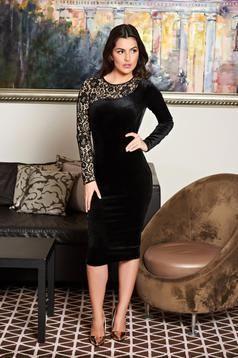 rochii Fofy negre din catifea elastica lungime midi cu o maneca din dantela