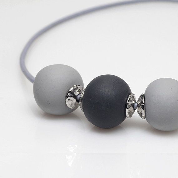 Polymer Clay and Leather Necklace Grey Charcoal by ElandraDesigns