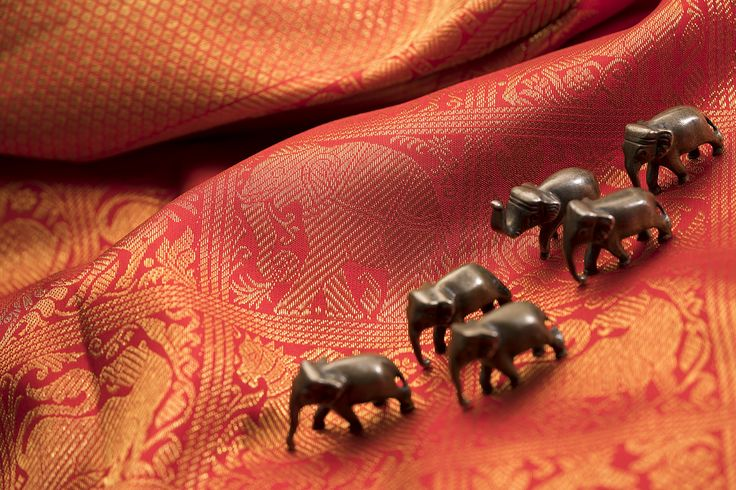 The beloved and majestic elephant is a recurrent motif on the Kanjivaram sari