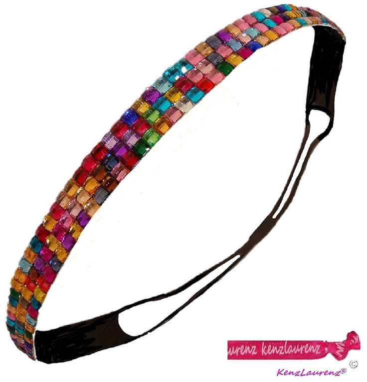 Rhinestone Elastic Stretch Headband (Rainbow) with Hair Ties - Hair Band - Hair Accessory - Great for Sports, Softball, Cheer, Dance, Fashion by Kenz Laurenz >>> Want to know more, click on the image.
