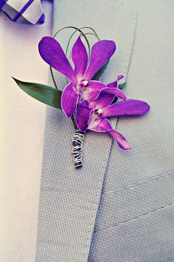 Boutonniere purple orchids