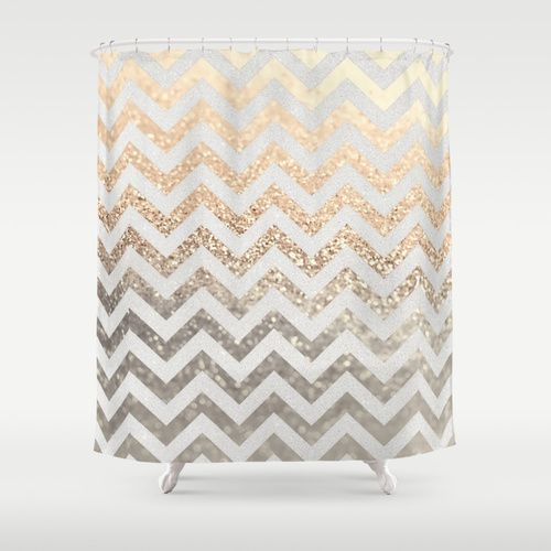 GOLD SILVER CHEVRON Shower Curtain Ombre Glitter Photography And Hooks