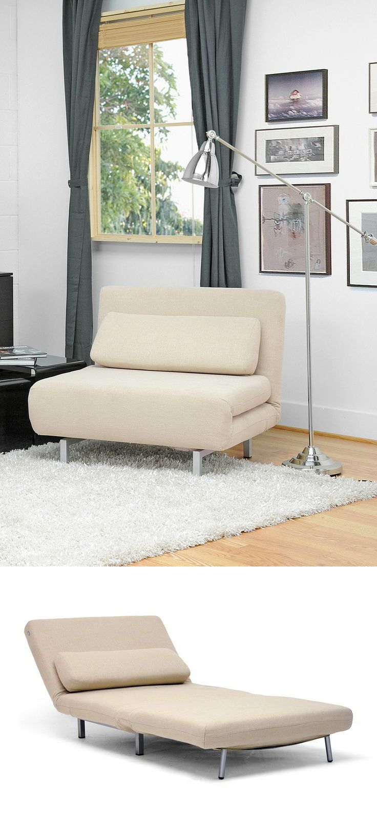 Amiens Cream Convertible Accent Chair-Bed