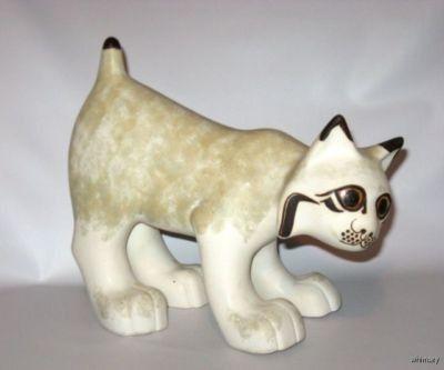 Strawberry Hill Pottery Vintage Bobcat / Lynx Figurine Signed Canadian Rare (09/16/2011)