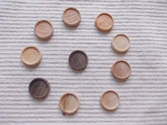 Natural unfinished wooden ring/earrings base with 25 mm cabochon frame,jewel base,wood ring/earrings setting,wood supply  10 pieces mix of round light walnut/ash wood jewel base/frame for jewel making. It is perfect size to make rings or earrings or pendants. https://www.etsy.com/listing/124768895/10-pc-natural-unfinished-wooden?ref=related-2