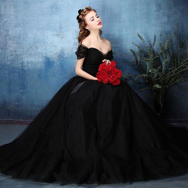 Vintage Off the Shoulder Black Wedding Dresses 2017 Boho Wedding Dress Bridal Gowns