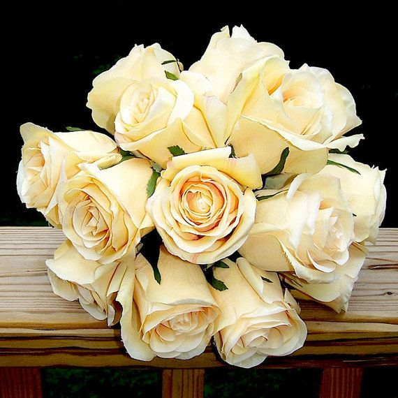 Moonlight Pale Yellow Rose Wedding Bouquet and Grooms Bout ready to ship