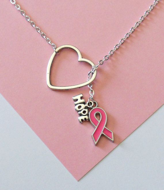 """Silver Cancer Awareness Necklace with ribbon, heart and 'hope"""" Charms, handmade jewelry on Etsy, $19.75"""