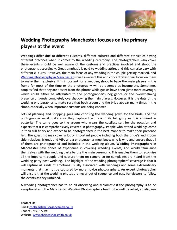 Wedding photography manchester focuses on the primary players at the event