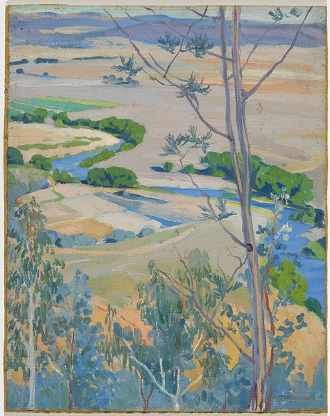 'Molonglo River from Mount Pleasant, Canberra' (1927) by Hilda Rix Nicholas