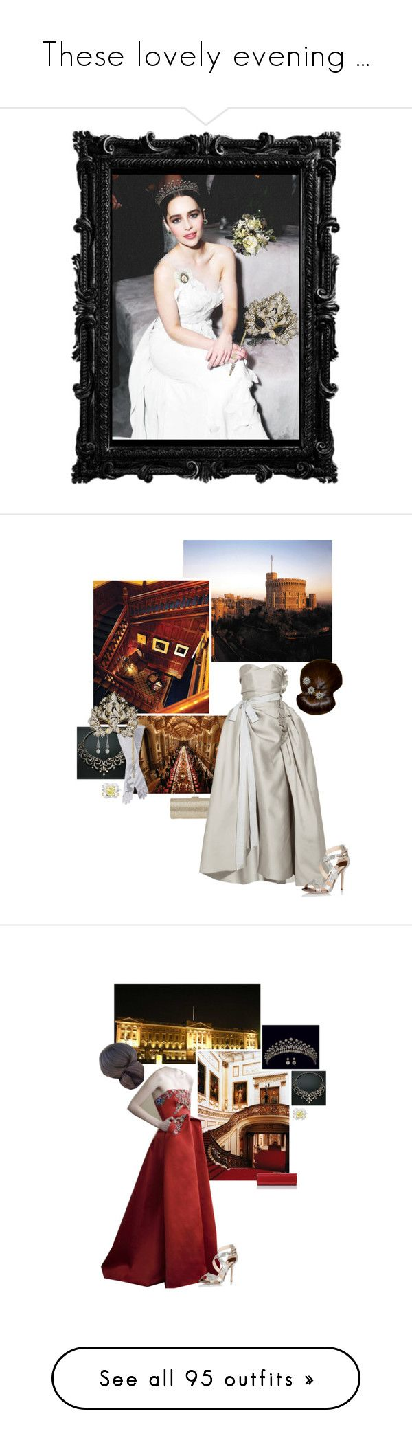 """""""These lovely evening ..."""" by duchessq ❤ liked on Polyvore featuring Elizabeth Taylor, CO, Ultimate, Jimmy Choo, Lanvin, TIARA, L.K.Bennett, Rubin Singer, Masquerade and Handle"""