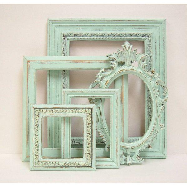 Shabby Chic Frames Pastel Mint Green Picture Frame Set Ornate Vintage... ($18) ❤ liked on Polyvore featuring home, home decor, pastel home decor and mint green home decor