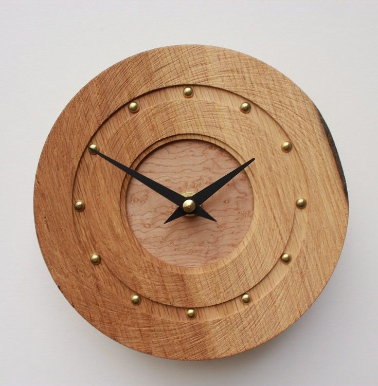 Lovely Small Round Oak Wall Clock With Textured Face Awesome Design