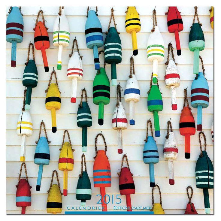 Décoration marine - toile | Bouées de casiers à homards USA - Philip Plisson | Bouchons en bois peints, passés dans l'eau salée puis séchés au soleil