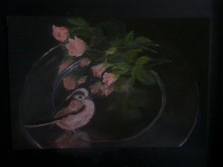 """""""La vie en rose"""" pastel σε χαρτί Αιγίθαλος λέγεται το ροζ πουλάκι http://www.1000birds.com/reports_GRE2_Long-tailed-Tit.htm Ζει και στην Ελλάδα."""