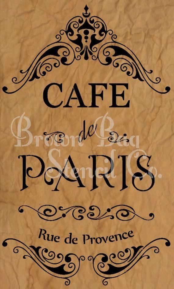 French Stencil  Cafe de Paris  12x20  mylar by BrownBagStencilCo