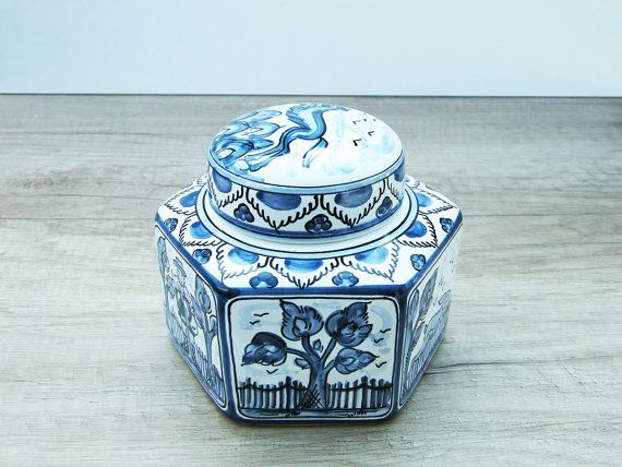 Lidded Hexagonal Bonbonniere with Flower Dog and by HabanCeramic, $49.00