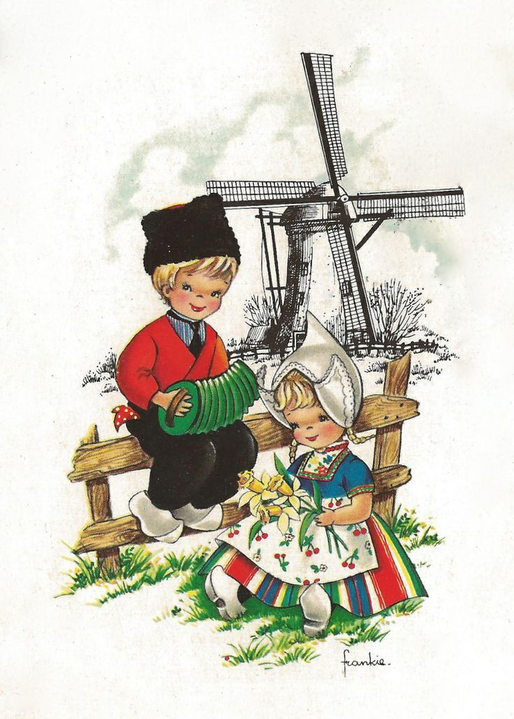 Boy with Accordion, girl with daffodils, windmill and fence