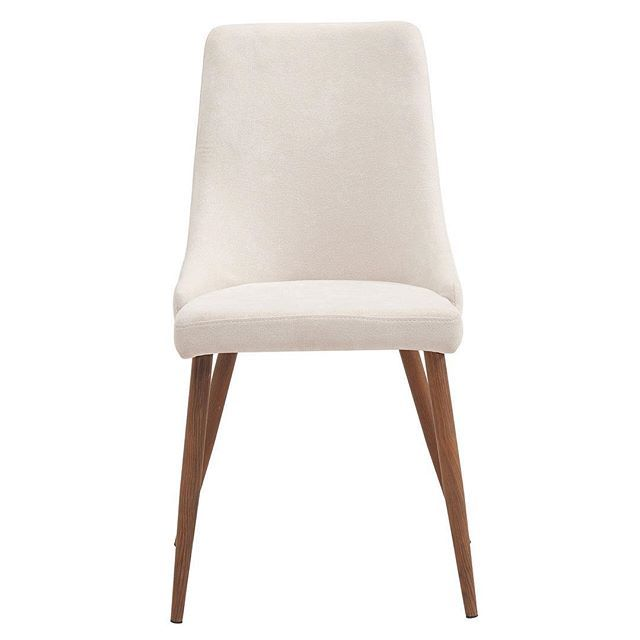 The Cora side chair's mid-century styling features a curved wood seat frame with cushion and fabric upholstery, metal legs with a heat-transferred walnut finish and is versatile enough to compliment any table. The best bit? This chair comes in two's! Only from WHi...  http://worldwidehomefurnishingsinc.com/cora-side-chair-in-beige-2pk.html