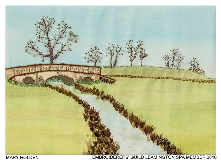 """West Park Bridge"" by Mary Holden member of Embroiderers' Guild Leamington Spa branch. Part of the Guild exhibition at Croome Park 11 April - 30 October 2016 showing work based on Capability Brown's design and the planting at Croome. Exhibition held as part of the UK's Capability Brown Festival"