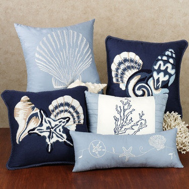 Treasures By Sea Blue Decorative Pillows