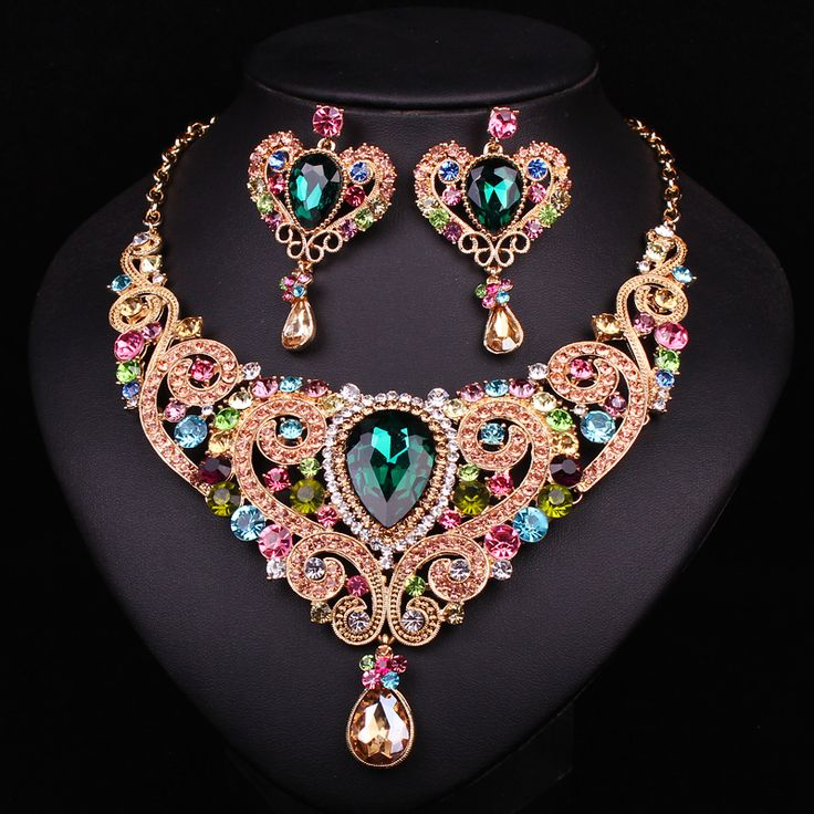 Luxury Gold Plated Crystal Pendant Necklace Drop Earrings Set Women Wedding Prom Bridal Jewelry Sets Christmas Present Gift