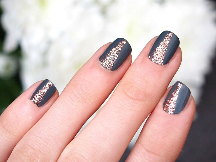 Nailart kiko grau matt kupfer glitzer for Nageldesign matt