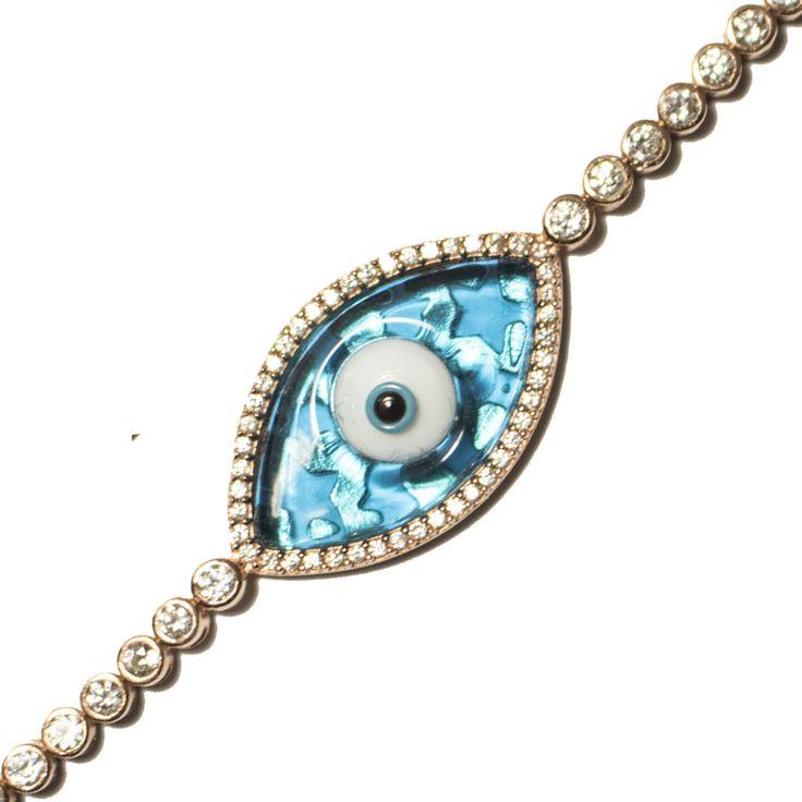Aubrey Stars Enamel Small Stone Evil Eye Bracelet