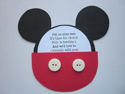 Mickey Mouse Birthday Invitation Tutorial.  Inspiration for a pillow or a bag with pocket!!