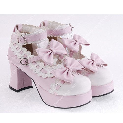 Cheap Pink with White Lace PU Sweet Lolita Shoes Sale At Lolita Dresses Online Shop