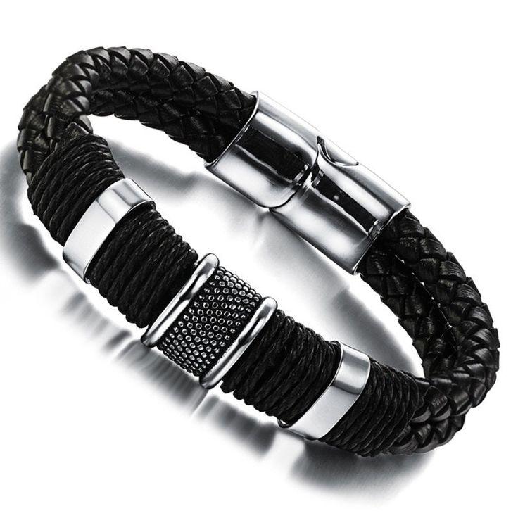 Cool Men Bracelet Stainless Steel Leather Wristband - 13 variants