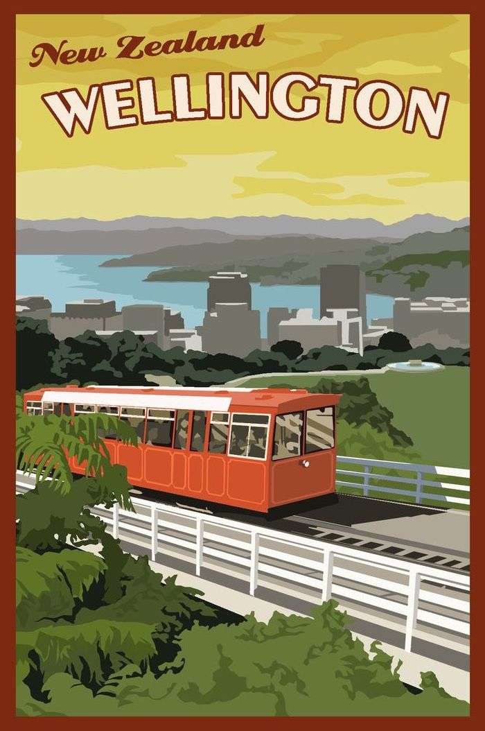 The Wellington Cable Car Is A Funicular Railway In Wellington New Zealand Between Lambton Quay The Main Vintage Travel Posters Travel Posters Vintage Travel