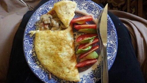Mushroom and bacon omelet breakfast