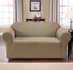 Montgomery II Mink Loveseat Slipcover. Deeply embossed box pattern with a soft luscious surface, beige form fit slip cover upholstery, living room, beautiful interior design, chic home decor