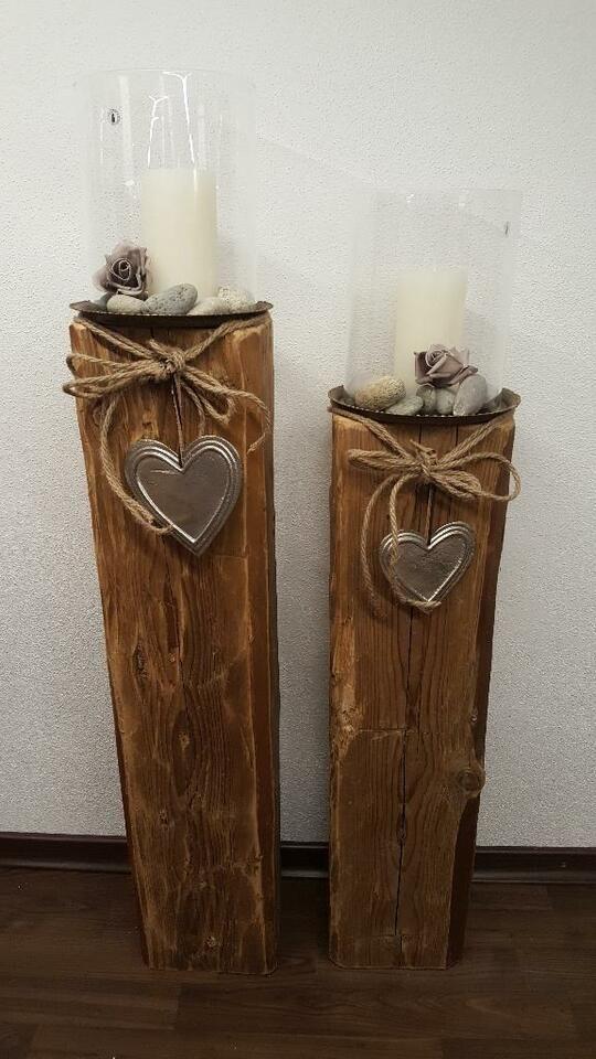 Windlicht Holz Laterne Kerze Holzbalken Glas Natur Holz