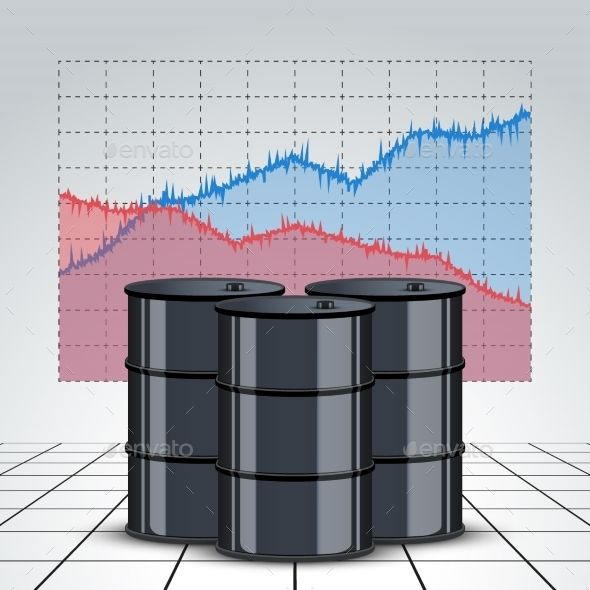 Oil Barrels on a Price Chart Background