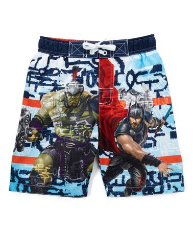 ebf2d8af132fd Love this Avengers White Swim Trunks - Boys on #zulily! #zulilyfinds  #affiliate