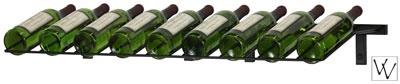 "Wall Mounted Presentation Wine Rack 39"" long, holds nine bottles. SKU: (WS-PR-K) Satin Black Finish SKU: (WS-PR-P) Platinum Series Nickel Finish. View more metal wine racks here http://www.winecellarspec.com/free-standing-metal-wine-racks/#. Wine Cellar Specialists  4421 Cedar Elm Circle Richardson, TX 75082  Toll Free: 866-646-7089  Texas Office: 972-454-0480  Illinois Office: 773-234-0112"