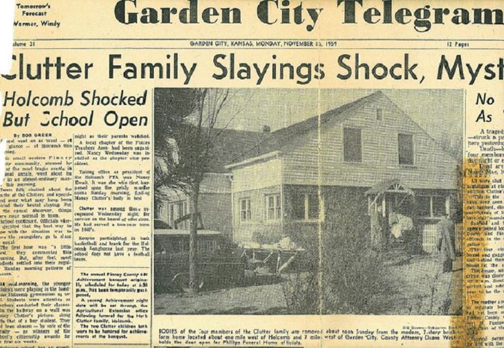 Newspaper Detailing The 1959 Murders Of Herbert Clutter A