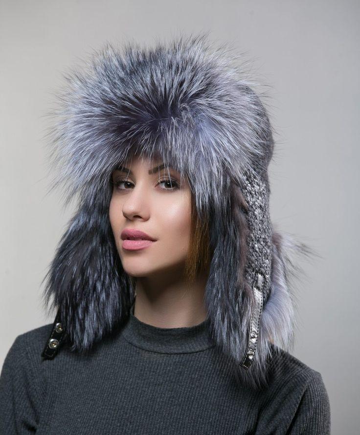 Silver Fox Fur Trapper Hat     #silver #fox #fur #trapperhat #relafur #winter #hat #haute #style #fashion