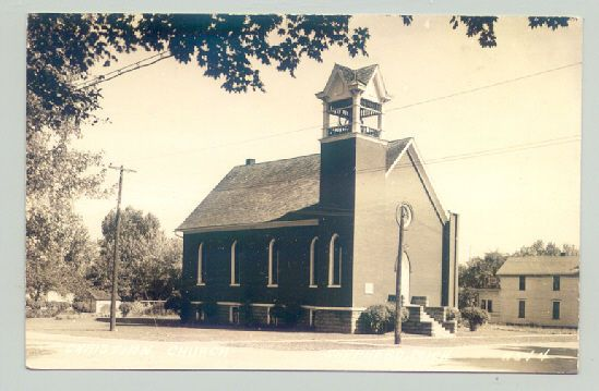 Neato! Maybe I can use this church in my Christmas Town story!!! Shepherd, Michigan MI ~ Christian Church  REAL PHOTO ^: