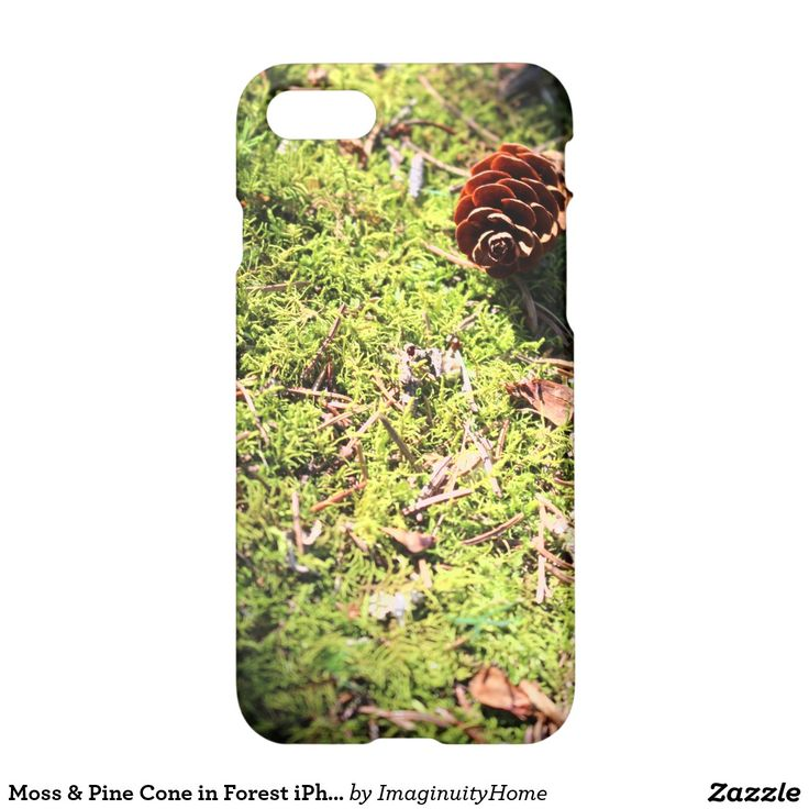 Moss & Pine Cone in Forest iPhone 7 Case: Rustic image of a pine cone on a bed of moss in a forest. This protective case is a great way to enjoy and protect your new iPhone 7!