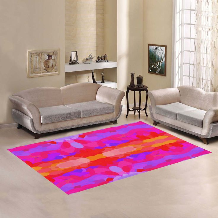 Purple, Pink and Orange Tie Dye Area Rug by Khoncepts