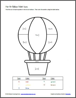 Hot Air Balloon Math Sums - simple math color-by-number for Kindergarten/1st graders