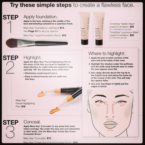 Simple steps for a flawless highlight! Use Mary Kay's Facial Highlighting Pen to achieve the perfect (and easy) look!
