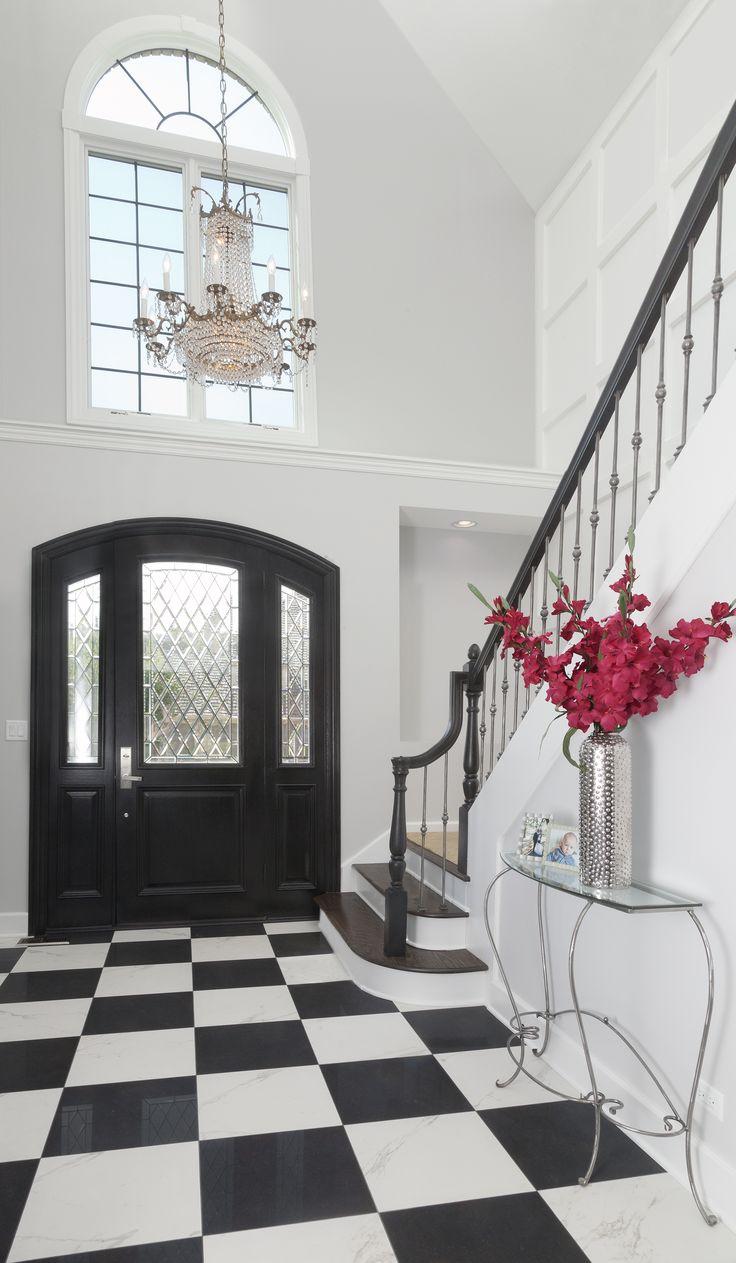 Classic black and white foyer floor!!!! Foyer flooring