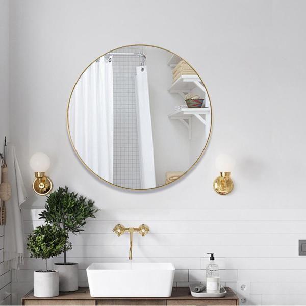 Neu Type Medium Round Brass Hooks Modern Mirror 31 5 In H X 31 5 In W Jj00792zzq The Home Depot Modern Mirror Mirror Round Wall Mirror