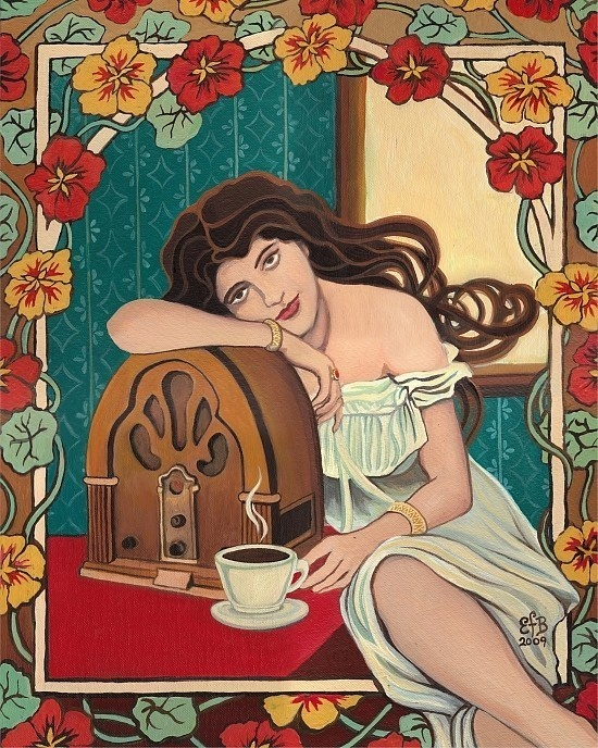 Morning Ritual  Coffee and Radio Art Nouveau by EmilyBalivet, $15.00